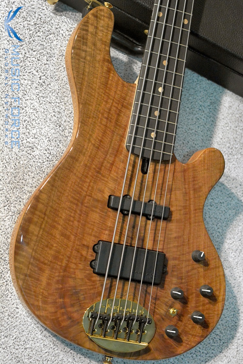 [2018 Final Sale(~12/31까지)!!!] Lakland US Custom 55-94 Deluxe Mahogany-Figured Walnut Burl Top w/Ebony FB, Black Painted Headstock & Black Gold HW(2017년산/신품)