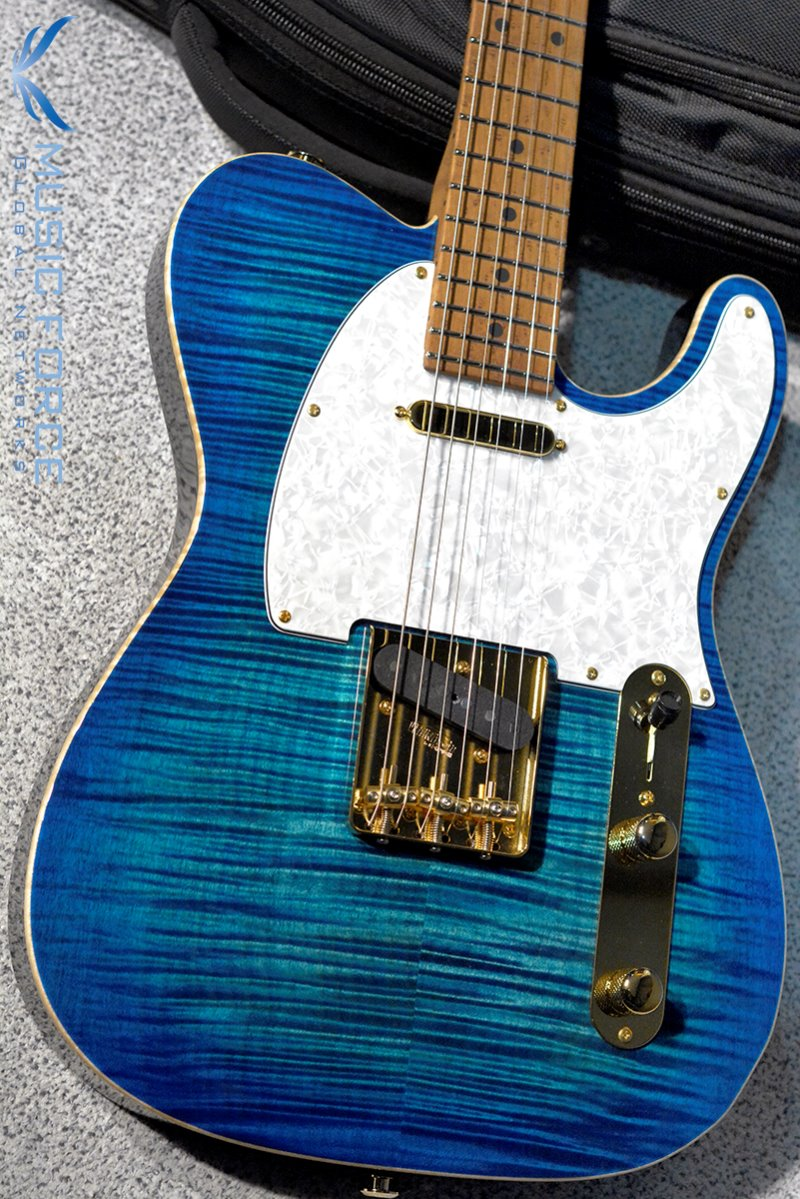 Suhr Classic T Deluxe SS FMT Limited Edition-Aqua Blue Burst w/Roasted Birdseye Maple FB, Gold HW & SSCII System(2019년산/신품)