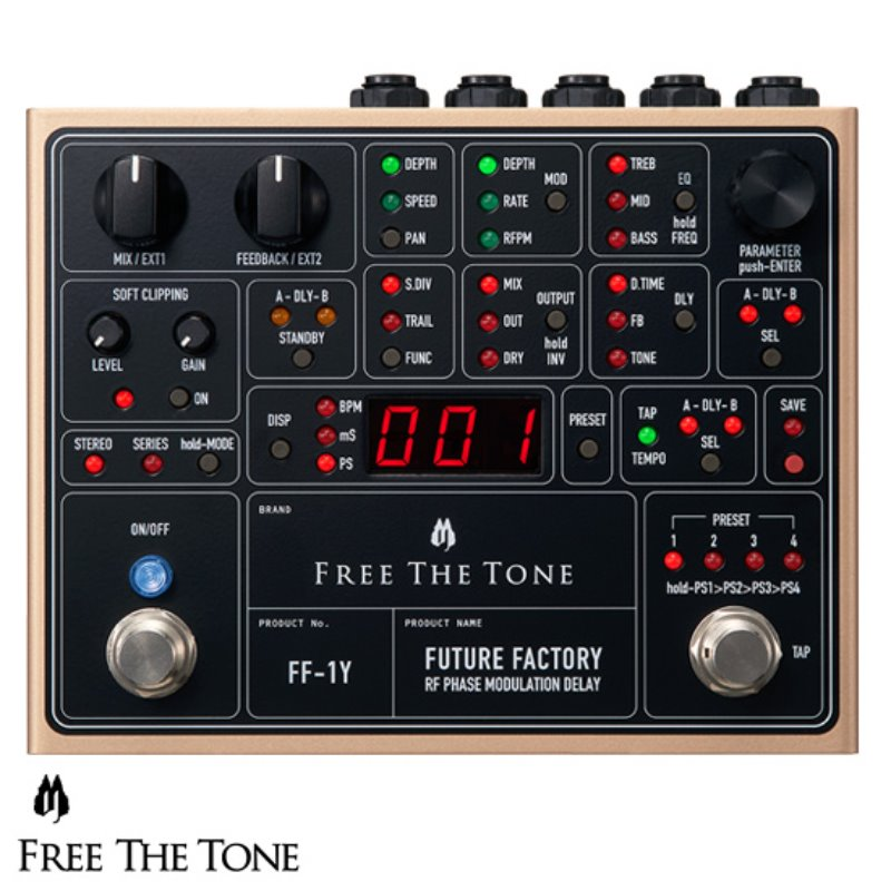 [Free The Tone] FF-1Y Future Factory, RF Phase Modulation Delay - 랜덤 변동 위상 변조 딜레이 페달