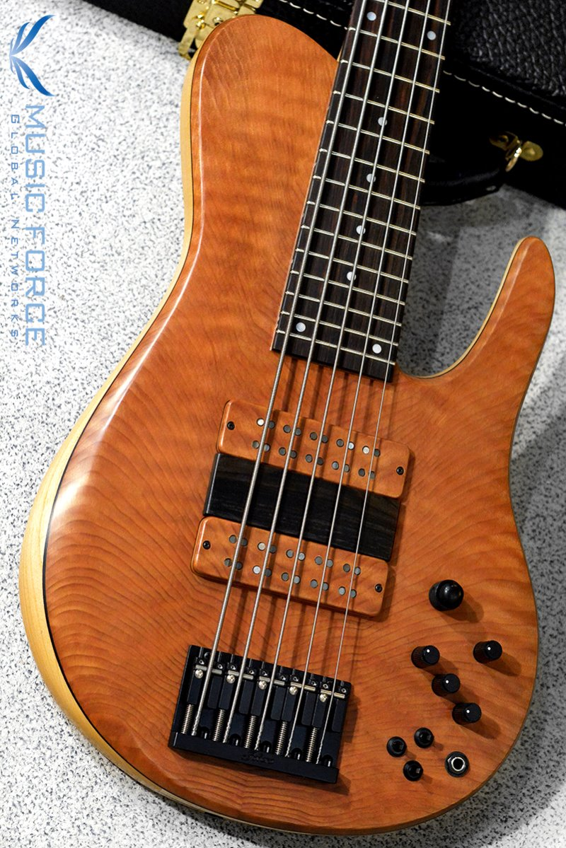 Fodera Custom Imperial Elite MG 5-Redwood Flame Top w/Macassar Ebony FB, Ebony Ramp & Black HW(2019년산/신품)