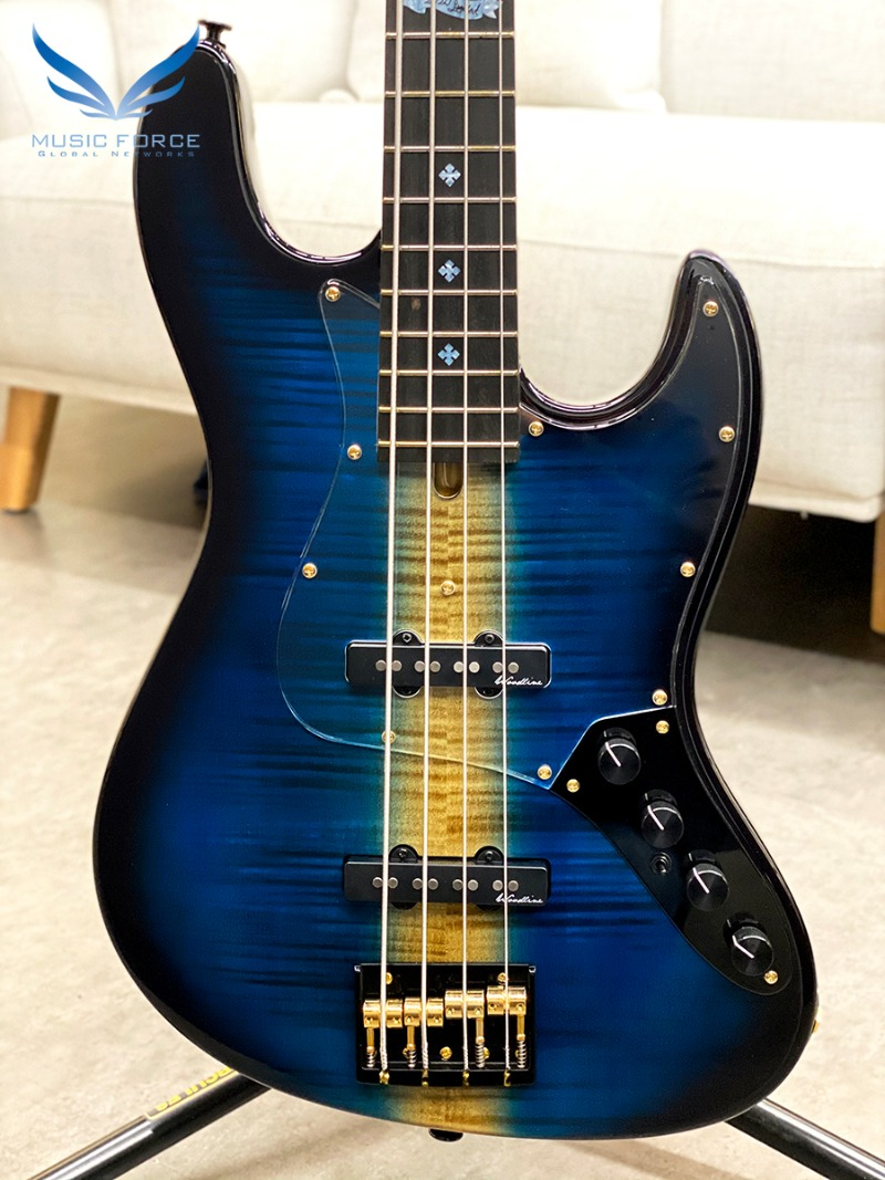 Bacchus Japan Handmade Series WOODLINE4 AC-20/Flame Maple Limited Edition-Blue Finish w/Ebony FB(2020년산/전세계9대한정판/신품)