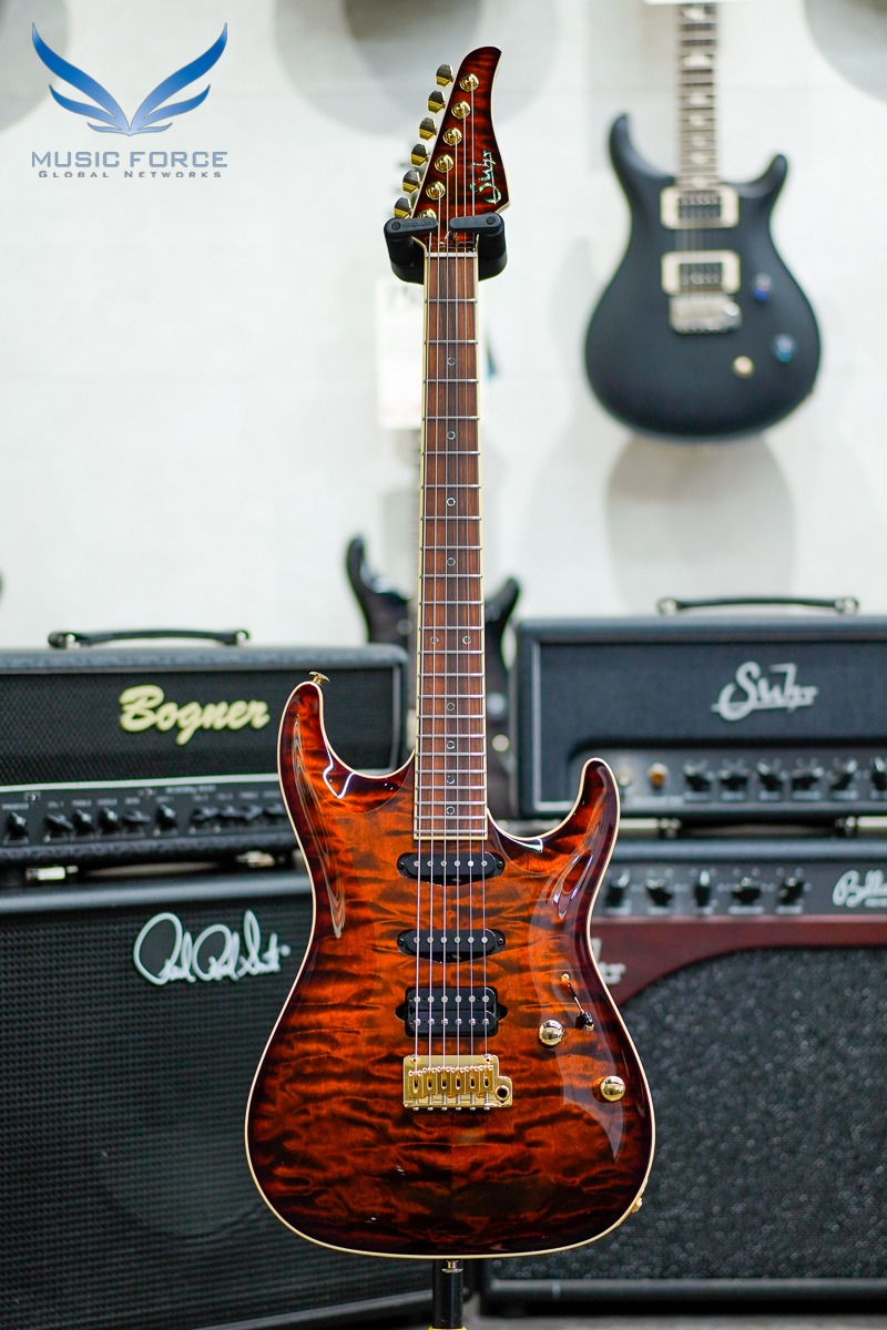 [2021 Spring Sale(~5/31까지)] Suhr 2018 NAMM Select Limited Edition Custom Standard Carve Top SSH QMT-Dark Bengal Burst w/Ivoroid Full Binding & Gold HW(2018년산/한정판/신품) - JS1T5L